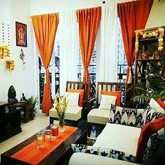 Ideas Living Room Table Ideas Diy House For 2019 Ethnic Living Room, Living Room Orange, Indian Living Rooms, Living Room Modern, Living Room Interior, Home Living Room, Living Room Decor, Modern Couch, Living Area