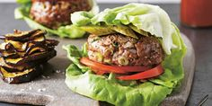 Lettuce Burger with Eggplant Chips by Jess Sepel - I Quit Sugar Lettuce Burgers, Lettuce Wrapped Burger, Healthy Burger Recipes, Beef Recipes, Low Carb Recipes, Mince Recipes, Healthy Dinners, Lunchbox Kids, Burger And Chips