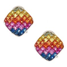 14k White Gold Multi-colored Sapphire Stud Earrings ($1,172) ❤ liked on Polyvore featuring jewelry, earrings, white, sapphire earrings, white gold stud earrings, 14 karat white gold earrings, 14k earrings and stud earrings