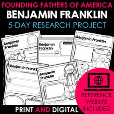 Your students will love learning about Benjamin Franklin - one of the Founding Fathers of America - with this fun research project. Scaffolded notes support students through the research process from start to finish. Simply share the kid-friendly Reference Website created for this project with your ... Daily Lesson Plan, Lesson Plans, Reference Website, Benjamin Franklin, Create Website, Research Projects, Founding Fathers, Upper Elementary, Google Classroom