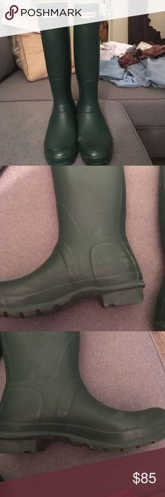 Hunter Rain Boots Original Tall Good condition Hunter boots in green. Some wear on the soles and scuffs but still lots of life left in them. Hunter Boots Shoes Winter & Rain Boots