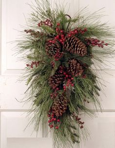 Berkshire Evergreen Christmas Holiday Swag purple spring wreath is creative inspiration for us. Get more photo about Christmas swags related with b. Christmas Swags, Noel Christmas, Outdoor Christmas, Homemade Christmas, Holiday Wreaths, Rustic Christmas, Winter Christmas, Christmas Crafts, Christmas Ornaments