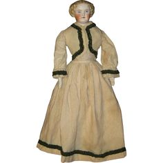Antique Parian China lady in fine wool costume from ocdollcompany on Ruby Lane