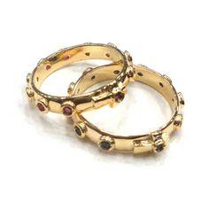 18k solid gold natural ruby/natural sapphire wedding rosary ring