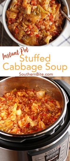 Use your Instant Pot pressure cooker to cook up this delicious and easy Stuffed Cabbage Soup recipe!