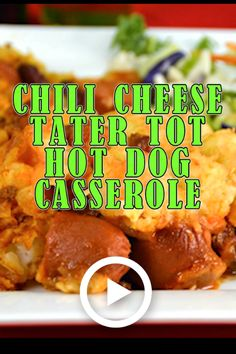Chili Cheese Tater Tot Hot Dog Casserole is an easy dinner to make for busy weeknights. Who doesn't like chili, cheese, hot dogs and tater tots? It's my guilty pleasure! Hotdog Casserole Recipes, Chili Dog Casserole, Cheeseburger Tater Tot Casserole, Casserole Kitchen, Hot Dog Recipes, Easy Chicken Recipes, Chili Recipes, Easy To Make Dinners, Easy Meals
