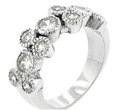 White Gold Rhodium Bonded Anniversary Ring with 11 Round Cut Clear CZ in a Bezel Setting with Milligrain Finish in Silvertone. Vanilla Ice Ring is an anniversar Ice Ring, Simulated Diamond Rings, Bezel Ring, Cubic Zirconia Rings, Travel Jewelry, Size 10 Rings, Anniversary Rings, Chicano, Or Rose