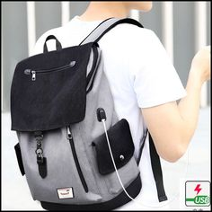 Simple Large Capacity Flap School Student Rucksack USB Interface Boy's Canvas Travel Backpacks #bag #Backpack #school #travel Mini Backpack, Travel Backpack, Fashion Backpack, Retro Backpack, Girl Backpacks, School Backpacks, Canvas Backpacks, Leather Briefcase, Leather Backpack