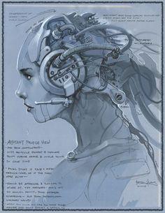 Cyberpunk, Starcraft 2 Terran Adjutant Concept Art by Brian Huang