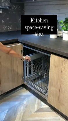 Kitchen Room Design, Kitchen Cabinet Design, Interior Design Kitchen, Diy Kitchen Storage, Kitchen Organization, Space Saving Kitchen, Kitchen Modular, White Kitchen Cabinets, Kitchen Accessories