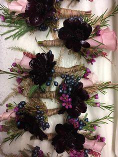 #buttonholes #groomsflowers #blackflowers #cosmos #deeppurpleflowers #purplaandlilac #cerise #weddingflowers #pennyjohnsonflowers #warwickshireflorist #birminghamflorist