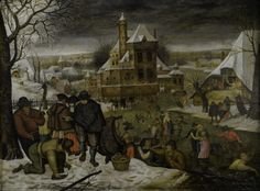 """""""Winter Landscape with Ice-Skaters,"""" Pieter Breughel the Younger, after 1616, oil on panel, 22 3/4 x 17"""", Picker Art Gallery."""