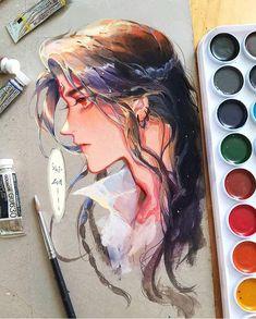 Anime Male Face, Painting Inspiration, Art Inspo, Manga Watercolor, Estilo Anime, Guache, Art Poses, Tumblr Art, Boy Art