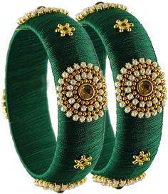 Womens Trendz Silk Thread Bangles for Womens/Girls Silk Thread Earrings Designs, Silk Thread Bangles Design, Silk Bangles, Fabric Earrings, Bridal Bangles, Antique Jewellery Designs, Fancy Jewellery, Thread Jewellery, Handmade Jewellery