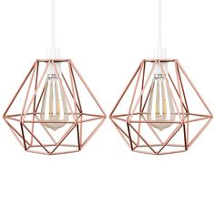 Pair of - Retro Style Copper Metal Basket Cage Ceiling Pendant Light Shades Ceiling Pendant, Glass Pendant Shades, Sphere Lamp, Copper Wire Lights, Rectangle Lamp Shade, Metal Drum Shade, Drum Lampshade, Pendant Light Shades, Vintage Bulb