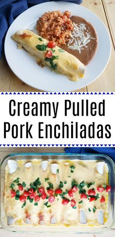 BBQ Pulled Pork Enchiladas with Sour Cream Cheese Sauce BBQ Pulled Pork Enchiladas with Sour Cream Cheese Sauce The perfect use for leftover pulled pork! These pulled pork enchiladas are part BBQ and part enchilada. They are creamy, cheesy and oh so good! Pork Roast Recipes, Pulled Pork Recipes, Recipes With Pulled Pork Leftovers, Leftover Pork Recipes, Leftover Pork Carnitas Recipe, Mexican Pulled Pork, Hamburger Recipes, Recipe Using Leftover Pork Roast, Sides With Pulled Pork
