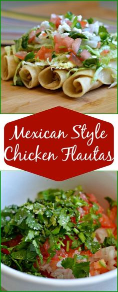 Mexican Style Chicken Flautas. These are so delicious and not very difficult to make. The fresh pico de gallo (recipe in post) makes this even better!