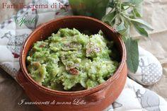 Primo piatto gustoso, cremoso e facile ....le farfalle con crema di broccoli e speck