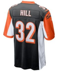 Nike Men's Jeremy Hill Cincinnati Bengals Game Jersey - Black XXL
