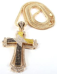 Iced Out #Gold with Black and Yellow Two-Tone Cross Pendant with a 36 Inch Franco Necklace Chain , http://www.amazon.com/dp/B007JN6AQY/ref=cm_sw_r_pi_dp_6IVarb1MCQNDS