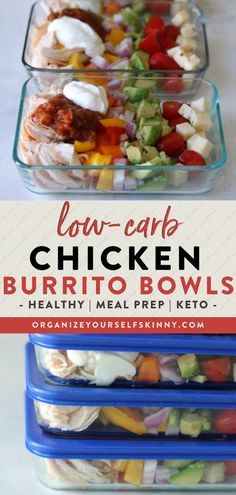 This chicken burrito bowl is filled with all the flavors of your favorite burrito minus the carbs! Meal prep 4-5 on Sunday to enjoy all week! This low-carb meal prep recipe is quick and easy for a family weeknight dinner. Organize Yourself Skinny | Healthy Lunch Recipes | Healthy Meal Prep Recipes | Healthy Recipes | Quick and Easy Dinner Recipes | Healthy Family Recipes | Meal Plan Healthy Low Carb Dinners, Quick Healthy Lunch, Healthy Freezer Meals, Healthy Meal Prep, Keto Meal, Low Carb Recipes, Healthy Foods, Healthy Eating, Easy Dinners For Kids