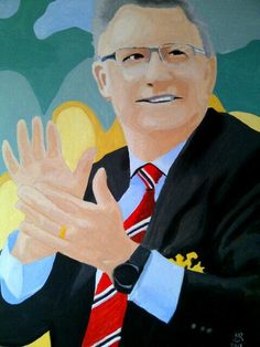 This portrait of Alex is the newest by blind veteran Matthew Rhodes - He has a brilliant painting style Sir Alex Ferguson, Arts And Crafts Projects, Rhodes, Blind, Portrait, Artwork, Sports, People, Painting