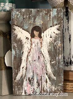 Angel painting on wood, rustic angel hand painted wall decor Angel Wings Art, Angel Wings Painting, Angel Artwork, Angel Drawing, Angel Paintings, Rustic Painting, Painting On Wood, Matte Painting, Hand Painted Walls