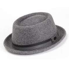Bailey Leather Wool Pork Pie Hat lovely grey pork pie hat with a dark and light grey stripe Pork Pie Hat, Stylish Hats, Grey Stripes, Caps Hats, Groomsmen, Light In The Dark, Wool Felt, Gentleman, Mens Fashion