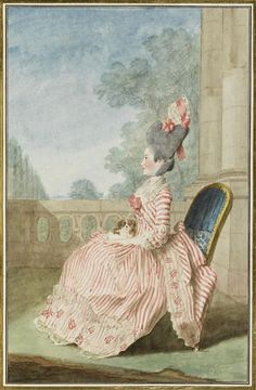 Before the Automobile: Late 1770's robe à la Polonaise à coqueluchon