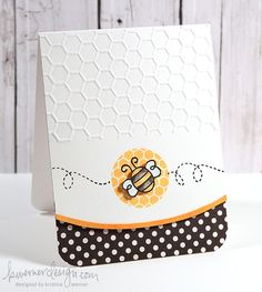 handmade card: Bee Card Kristina Werner ... hexagon embossing folder texture ... curved border ... white with black and yellow ... luv it!