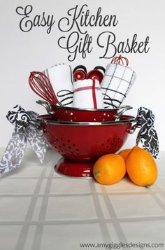 Easy Kitchen Gift Basket. Great idea for the realtors. Could very easily add the coffee maker, filters and some samples. Simple Gifts, Easy Gifts, Cute Gifts, Homemade Gifts, Creative Gifts, Kitchen Gift Baskets, Diy Gift Baskets, Kitchen Gifts, Kitchen Items