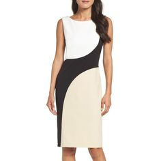 Women's Vince Camuto Colorblock Sheath Dress (4,270 PHP) ❤ liked on Polyvore featuring dresses, colorblocked dress, colour block dress, vince camuto, sheath dress and color block sheath dresses
