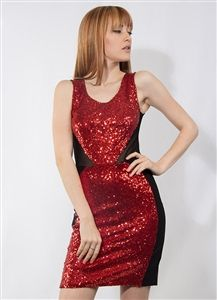 Red Sequin and Mesh Dress $7.50 per unit