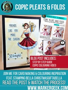 Stamping Bella Christmasgiftabella Copic Pleats & Folds Step by Step & Video - Marker Geek Card Making Inspiration, Color Inspiration, Simply Stamps, Silhouette Cameo Tutorials, Copic Sketch, Learn Calligraphy, Coloring Tutorial, Colouring Techniques, Copics