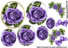 Pretty purple rose pyramids with roses bow A4 on Craftsuprint - Add To Basket!