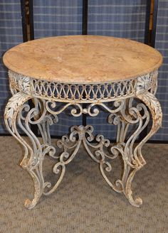 Ornate Shabby Rococo Style Wrought Iron Marble Top Center Table #RococoStyle