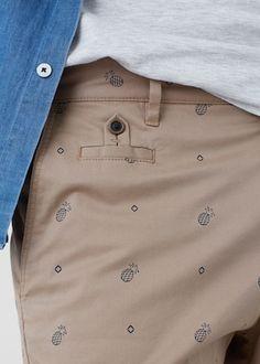 Pineapple-print cotton bermuda shorts -  Man   MANGO Man Indonesia