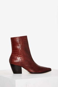 Matisse Caty Python Leather Boot - Burgundy | Shop Shoes at Nasty Gal!