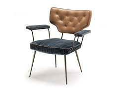 Upholstered chair with armrests TWIGGY by Arketipo design Giuseppe Viganò