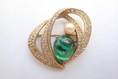 Vintage Signed Les Bernard Inc brooch gold tone rhinestone green art glass AB128 #LesBernard