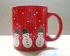 Waechtersbach Mug Christmas Snowmen Red Green White Made in Germany New