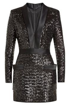 Balmain Satin-lapel Sequin-embellished Mini Dress In Black Trendy Dresses, Short Dresses, Fashion Dresses, Mini Dresses, Ball Dresses, Sequin Mini Dress, Embellished Dress, Short Satin, V Neck Cocktail Dress