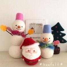 Cute Needle felted wool animals snowman santa(Via @kuufelt)