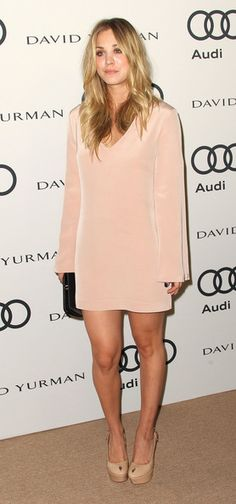 Kaley Cuoco Cocktail Dress - Kaley Cuoco embraced minimalism in a soft pink shift dress, free of free or embellishment.