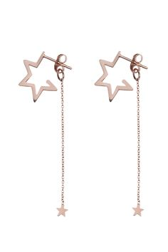 Star Hoops with Falling Star Earring Backs Rose Gold Falling Stars, Star Earrings, Earring Backs, Stargazing, Ear Piercings, Rose Gold, Toy, Collection, Jewelry