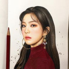 What goes around comes around🙃 . Japanese Drawings, Realistic Drawings, Kpop Drawings, Art Drawings, Korean Painting, Celebrity Drawings, Red Velvet Irene, Color Pencil Art, Media Images