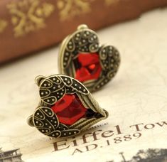 Shop Lingstar(TM) Retro Bronze Red Heart Earrings Vintage Palace Angel Wings A pair Xmas. Free delivery on eligible orders of or more. Wing Earrings, Heart Earrings, Crystal Earrings, Crystal Jewelry, Moon Earrings, Vintage Earrings, Vintage Jewelry, Red Gemstones, Red Rhinestone