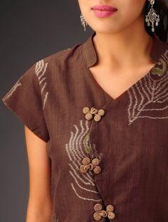 Brown Ikat Chinese Shirt