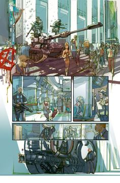 comic page by Greg Tocchini. Lovely style, coloring, and textures Comic Book Artists, Comic Artist, Comic Books Art, Storyboard, Bd Comics, Manga Comics, Comic Shop, Comic Book Layout, Comic Frame