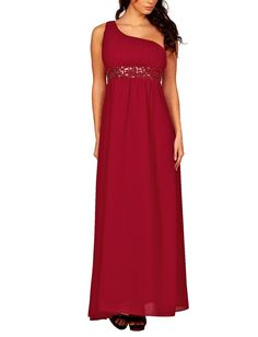 Lange Damen One Shoulder Kleider Pailletten Abendkleider Ballkleider Brautjungfern elegante Maxikleider Cocktailkleider: Amazon.de: Bekleidung